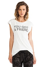 You Got A Friend Twisted Seam Muscle Tee in Cream
