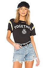 Pam & Gela Football Stripe Short Sleeve Tee in Vintage Black
