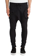Drop Crotch Sweatpant in Noir