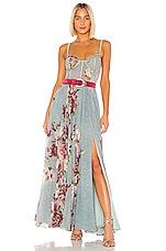 PatBO Peony Bustier Maxi Dress in Soft Blue