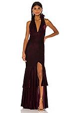 PatBO Velvet Plunge Gown in Bordeaux