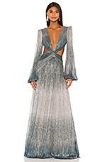 PatBO Ombre Lurex Cutout Maxi Dress in Cyan