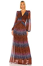 PatBO Rainbow Lurex Long Sleeve Gown in Multi