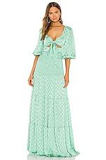 PatBO Satin Dot Ruched Maxi Dress in Aqua
