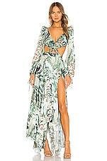 PatBO Eden Print Cut Out Maxi Dress in Verde
