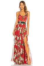 PatBO Floral Bustier Belted Maxi Dress in Cherry