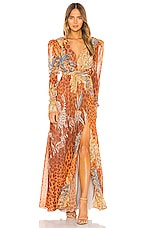 PatBO Margot Plunge Maxi Dress in Bright Orange
