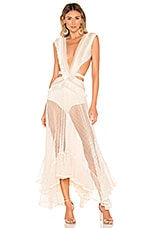 PatBO Fringe and Mesh Cutout Maxi Dress in Wheat