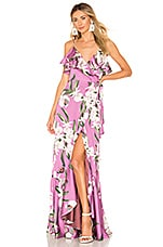 PatBO Orchid Print Wrap Maxi Dress in Violet