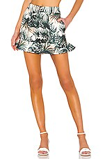 PatBO Palm Print Ruffle Shorts in Ivory & Green