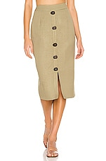 PatBO Linen Pencil Skirt in Vintage Khaki