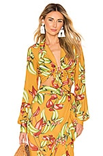 PatBO Zebrina Print Tie Front Cropped Top in Yellow