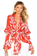PatBO Leaf Print Wrap Top in Hot Pink