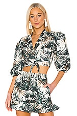 PatBO Palm Print Cropped Top in Ivory & Green