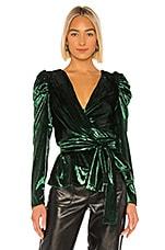 PatBO Liquid Velvet Wrap Top in Emerald