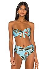 PatBO Tropical Bikini Top in Cerulean