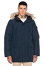 Hoosac Hooded Down Mountain Parka with Faux Fur en Marine