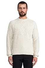 Cable Knit Pullover in Light Silver Marl