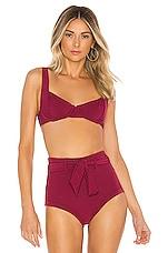 Peony Swimwear Balconette Bikini Top in Sangria