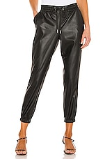 n:philanthropy Scarlett Leather Jogger in Black Cat