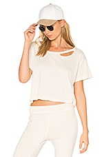 Codie Distressed Crop Tee in White Magic