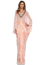 Ladies Embroidered Printed Kaftan in Tahiti Tattoo Blush