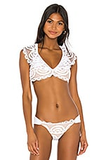 PILYQ Lace Ruffle Bikini Top in Water Lily