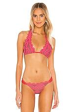 PILYQ Lace Halter Bikini Top in Pink Crush