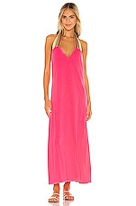 Pitusa Solid Halter Dress in Neon Fuchsia