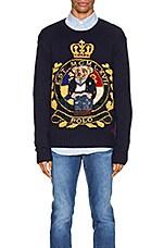 Polo Ralph Lauren Wool Blend Icon Sweater in Navy Crest Bear