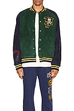 Polo Ralph Lauren Sherpa Varsity Jacket in College Green & Cruise Navy