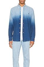 Polo Ralph Lauren Indigo Solid Button Down Shirt in 4380 Blue Dip Dye