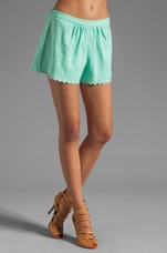 Washed Linen Blend Scalloped Shorts in Clear Skies