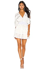 Place Nationale Beau Rivage Dress in White Cotton Voile & Yellow Swiss Dot