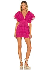 Place Nationale Le Rasis Backless Kaftan Mini Dress in Pink Yarrow Grid Lace