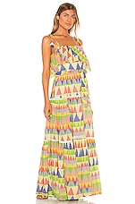 Place Nationale Le Camus Mosaic Tiered Sun Dress in Coloured Mosaic Cotton