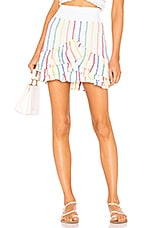 Place Nationale Saint Quentin Tiered Mini Skirt in White Candy Stripe