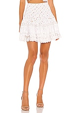 Place Nationale La Rotie Smocked Mini Skirt in Floral Cotton