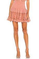 Place Nationale La Rotie Lace Smocked Mini Skirt in Antique Rose Broderie Anglaise & Lace