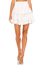 Place Nationale La Rotie Lace Smocked Mini Skirt in White Broderie Anglaise & Lace