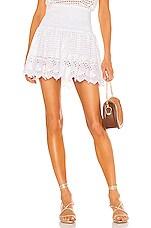 Place Nationale La Libere Mini Skirt in White Eyelet Cotton