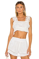 Place Nationale Le Tournesol Crop Top in White Lace