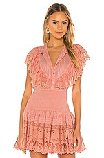 Place Nationale La Bavette Bib Top in Antique Rose Broderie Anglaise & Lace