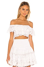 Place Nationale Le Balzac Bardot Top in White Broderie Anglaise & Lace