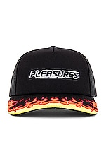 Pleasures Burn Trucker Snapback in Black