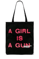 Pleasures A Girl Is A Gun Tote Bag in Black