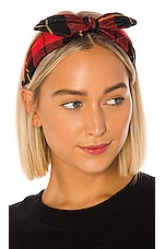 Plush Plaid Headband with Bow in Red