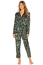 Plush Silky Jungle Print PJ Set in Emerald Print