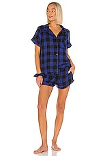 Plush Ultra Soft Plaid Woven PJ & Scrunchie Set in Cobalt & Black