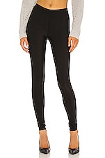 Matte Spandex Fleece Lined Legging en Noir